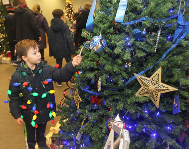 Candace H. Johnson-For Shaw Media Charlie Lemke, 6, of Grayslake looks at a Giving Tree made by the Exchange Club of Grayslake at the Grayslake Heritage Center & Museum during Grayslake's Tree Lighting Festivities in downtown Grayslake. (11/23/18)