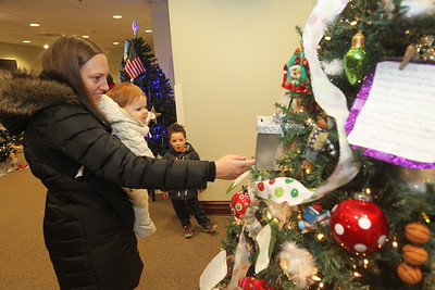 Candace H. Johnson-For Shaw Media Dana Prouty, of Grayslake and her children, Maizie, eleven-months-old, and Myles, 5, look at a Giving Tree made by the Mothers Trust Foundation at the Grayslake Heritage Center & Museum during Grayslake's Tree Lighting Festivities in downtown Grayslake. (11/23/18)