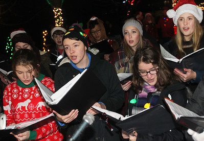 Candace H. Johnson-For Shaw Media Chamber singers from Grant Community High School sing Christmas carols during the Holiday Tree Lighting at Millennium Park during Fox Lake Festival of Lights. (11/24/18)