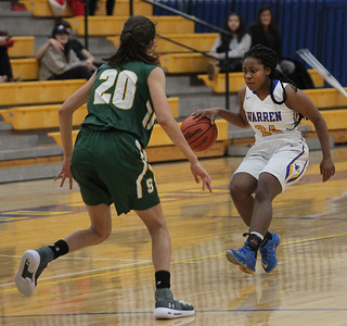 Candace H. Johnson-For Shaw Media Warren's Aniya Anderson looks to drive around Stevenson's Avery King (#20) in the first quarter at Warren Township High School in Gurnee. Stevenson won 58-32. (11/27/18)