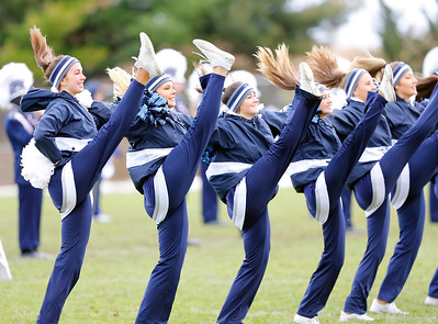 The Cary-Grove pom-pom squad entertains the crowd at halftime as the Cary-Grove Trojans defeat the St. Ignatius (Chicago) Wolfpack 41013 in a Class 6A IHSA football playoff game on Saturday, November 2, 2019, in Cary, Ill.