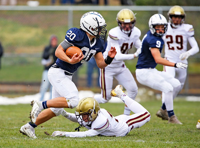 Cary-Grove Blake Skol (20) breaks a tackle as the Cary-Grove Trojans defeat the St. Ignatius (Chicago) Wolfpack 41013 in a Class 6A IHSA football playoff game on Saturday, November 2, 2019, in Cary, Ill.