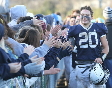 Candace H. Johnson-For Shaw Media Cary-Grove's Blake Skol greets the crowd after his varsity football team beat Antioch 14-7 during the Class 6A second-round playoff game at Cary-Grove High School.