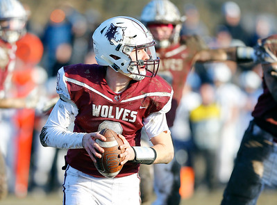 Prairie Ridge Wolves' Connor Lydon (9) looks to pass the ball as the Wolves defeated the Cary-Grove Trojans 14-13 in a Class 6A IHSA football quaterfinal playoff game on Saturday, November 16, 2019, in Crystal Lake, Ill.