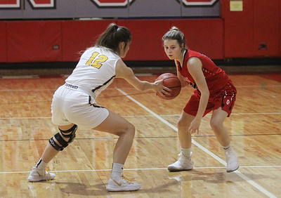 Candace H. Johnson-For Shaw Media Carmel's Kaytlyn Matz steals the ball away from Grant's Nicolette Kouvelis in the first quarter during the Girls Thanksgiving Basketball Tournament at Mundelein High School. Carmel won 40-29. (11/18/19)