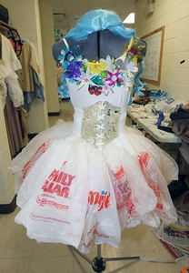 Candace H. Johnson-For Shaw Media A sample fairy costume made of all recycled materials including plastic water bottles, plastic bags and newspapers was standing in the hallway to be featured in the lobby for performances during technical preparation for Midsummer Night's Dream by William Shakespeare at Grant Community High School in Fox Lake. The play runs on Friday, November 22nd at 7:00 pm, Saturday, November 23rd at 7:00 pm and Sunday, November 24th at 2:00 pm. (11/19/19)