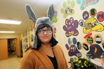 Candace H. Johnson-For Shaw Media Sophia Santiago, 17, of Round Lake Heights tries on a donkey hat to be used for Midsummer Night's Dream by William Shakespeare at Grant Community High School in Fox Lake. Sophia is one of twelve student costumers helping out with the play. The play runs on Friday, November 22nd at 7:00 pm, Saturday, November 23rd at 7:00 pm and Sunday, November 24th at 2:00 pm. (11/19/19)