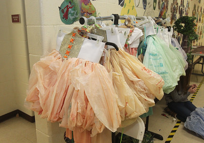 Candace H. Johnson-For Shaw Media Over 400 dyed plastic grocery bags were turned into ten skirts for fairies which hung on a rack during technical preparation for Midsummer Night's Dream by William Shakespeare at Grant Community High School in Fox Lake. Repurposed and reclaimed materials were used on costumes and set design. The play runs on Friday, November 22nd at 7:00 pm, Saturday, November 23rd at 7:00 pm and Sunday, November 24th at 2:00 pm. (11/19/19)