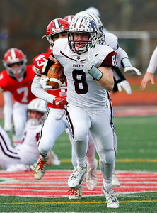 Prairie Ridge's Kyle Koelblinger (8) runs the ball as the Prairie Ridge Wolves defeat the Deerfield Warriors 49-16 in a Class 6A IHSA football semi-final playoff game on Saturday, November 23, 2019, in Deerfield, Ill.
