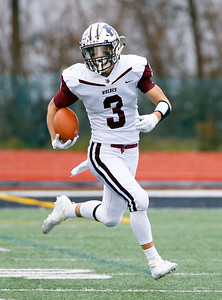 Prairie Ridge's Blake Brown (3) runs the ball as the Prairie Ridge Wolves defeat the Deerfield Warriors 49-16 in a Class 6A IHSA football semi-final playoff game on Saturday, November 23, 2019, in Deerfield, Ill.