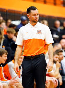 Crystal Lake Central coach Joe Capalbo watches as the Barrington Broncos defeated the Crystal Lake Central Tigers 75-45 in a boys varsity basketball game on Monday, November 25, 2019, in Crystal Lake, Ill.
