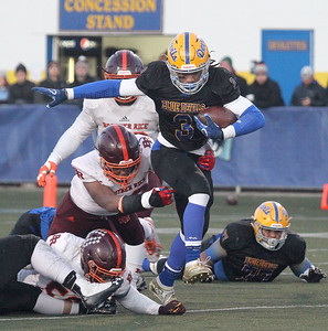Candace H. Johnson-For Shaw Media Warren's Derrick McLaughlin tries to escape the tackle attempt by Brother Rice's Myles Jones in the first quarter during the Class 8A state semifinals at Warren Township High School in Gurnee. Warren won 28-0. (11/23/19)
