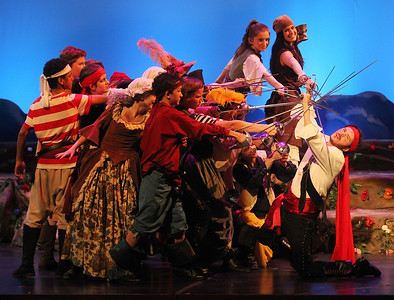 "Candace H. Johnson-For Shaw Media Pirate King, played by, Ethan Bader, 18, of Wauconda (on right) sings, ""Oh, Better Far to Live & Die,"" with the Pirates during The Pirates of Penzance at Wauconda High School. (11/21/19)"