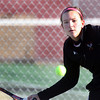 Jeff Krage – For the Kane County Chronicle<br /> Batavia's Liza Fruendt hits for a return Saturday during the UEC #2 singles championship at Elgin High School.<br /> Elgin 10/5/12