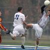 Jeff Krage – For the Kane County Chronicle<br /> Batavia goalkeeper Mike Rueffer makes a save during Saturday's IHSA 3A regional quarterfinal at Geneva High School.<br /> Geneva 10/13/12