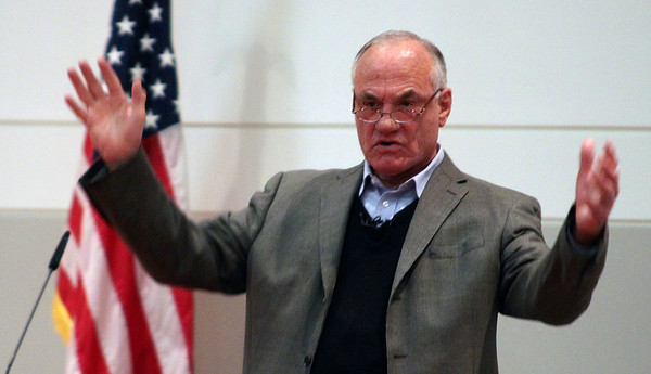Jeff Krage – For the Kane County Chronicle<br /> Barry Goldwater, Jr., former Republican member of the United States House of Representatives from California, 1969-1983, speaks to students Monday at Waubonsee Community College during the Congress to Campus program.<br /> Sugar Grove 10/22/12