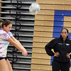 Jeff Krage – For the Kane County Chronicle<br /> St. Charles North girls varsity volleyball coach Lindsey Hawkins watches practice Monday. <br /> St. Charles 10/22/12