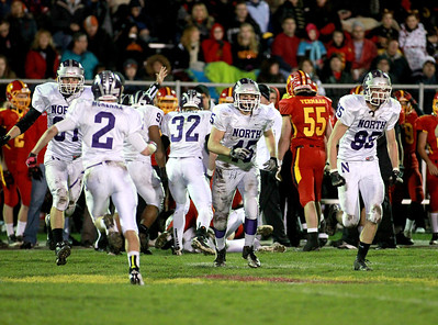 Downers Grove North players celebrate a fumble recovery during their first-round playoff game North Friday night in Batavia.