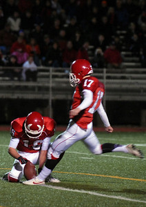 Hinsdale Central's John Andrews makes a field goal during their home game against Oak Park River Forest Friday October 26, 2012.  Staff photo by Erica Benson
