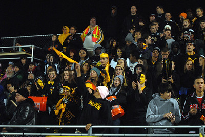 The Hinsdale South fan section roots on their team in the third quarter of a playoff game at Oak Forest on Friday, Oct. 26, 2012. Staff photo by Matthew Piechalak  |  Buy this photo at snapshots.mysuburbanlife.com/1557279