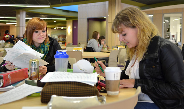 Monica Maschak - mmaschak@shawmedia.com Maddie Petri (left), 19, of Crystal Lake, and Lexi Chancellor, 19, of McHenry, study for a biology exam in the newly remodeled cafeteria at the McHenry County College Tuesday, October 30, 2012.  Renovations to MCC Building B includes a new cafeteria, a kitchen for the culinary students and a new student-run restaurant.