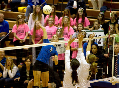 St. Charles North's Taylor Krage goes up for a kill during their 23-25, 19-25 IHSA Class 4A Larkin Sectional semifinal loss against Glenbard West.
