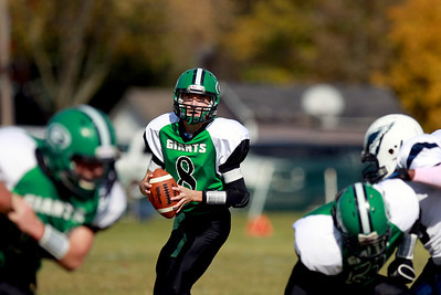 Sarah Nader - snader@shawmedia.com Alden-Hebron's Bryce Lalor (left) throws a pass during the second quarter of Saturday's game against Chicago Hope in Hebron on October 20, 2012. Alden-Hebron won, 32-14.