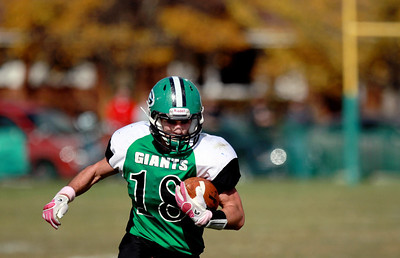 Sarah Nader - snader@shawmedia.com Alden-Hebron's Chip McKay runs a play during the first quarter of Saturday's game against Chicago Hope in Hebron on October 20, 2012. Alden-Hebron won, 32-14.