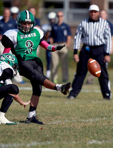 Sarah Nader - snader@shawmedia.com Alden-Hebron's Logan Yerk punts the ball during the second quarter of Saturday's game against Chicago Hope in Hebron on October 20, 2012. Alden-Hebron won, 32-14.
