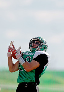 Sarah Nader - snader@shawmedia.com Alden-Hebron's Chip McKay catches a pass during the first quarter of Saturday's game against Chicago Hope in Hebron on October 20, 2012. Alden-Hebron won, 32-14.