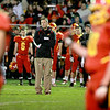 Batavia Head Coach Dennis Piron waits as a call is argued during their first-round playoff game against Downers Grove North Friday night in Batavia. (Sandy Bressner photo)