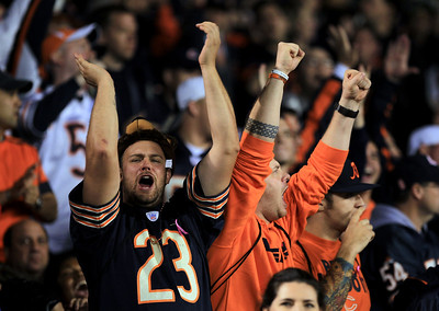 Sarah Nader - snader@shawmedia.com Fans cheer on the Bears during Monday's game against the Detroit Lions in Chicago on October 22, 2012. Chicago won, 13-7.