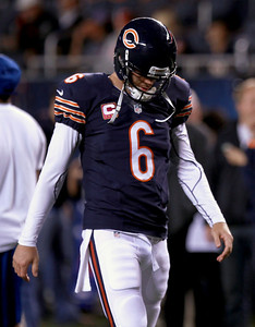 Sarah Nader - snader@shawmedia.com Chicago's Jay Cutler walks off the field before Monday's game against the Detroit Lions in Chicago on October 22, 2012. Chicago won, 13-7.