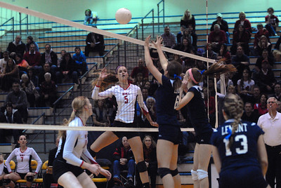 Benet senior outside hitter Cara Mattaliano (5) watches her shot during the Class 4A Neuqua Valley Sectional Championship against Lemont on Thursday, Nov. 1, 2012. Staff photo by Matthew Piechalak