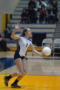 Lemont sophomore Haley Sullivan serves during the Class 4A Neuqua Valley Sectional Girls Volleyball Championship against Benet on Thursday, Nov. 1, 2012. Staff photo by Matthew Piechalak