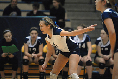 Lemont sophomore librero Haley Sullivan (1) before a serve during the Class 4A Neuqua Valley Sectional Girls Volleyball Championship against Benet on Thursday, Nov. 1, 2012. Staff photo by Matthew Piechalak