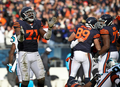 Josh Peckler - Jpeckler@shawmedia.com Chicago's Israel Idonije celebrates on the field after kicker Robbie Gould kicked a 41-yard field goal as time expired in the fourth quarter to defeat the Carolina Panthers 23-22 at Soldier Field Sunday, October 28, 2012.