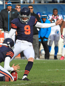H. Rick Bamman - hbamman@shawmedia.com With the Bears' Adam Podlesh holding Robbie Gould kicks the last second field goal at the end of the fourth quarter to beat the Panthers 23-22 Sunday, October 28, 2012.