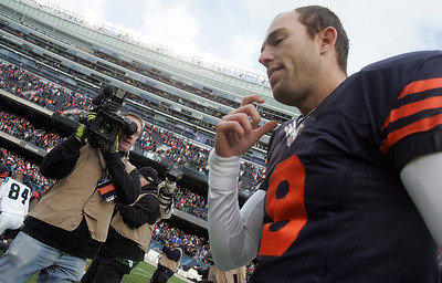 H. Rick Bamman - hbamman@shawmedia.com Bears'  Robbie Gould walks off the field after his last second field goal alowed the bears to win 23-22 over Carolina  Sunday, October 28, 2012.