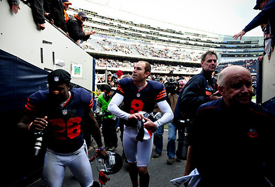 Josh Peckler - Jpeckler@shawmedia.com Chicago kick Robbie Gould (9) walks towards the locker room after making a 41-yard field goal as time expired in the game to defeat the Carolina Panthers 23-22 at Soldier Field Sunday, October 28, 2012.