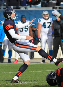 H. Rick Bamman - hbamman@shawmedia.com Bears' Robbie Gould watches is last second field goal sail through the uprights at the end of the fourth quarter to beat the Panthers 23-22 Sunday, October 28, 2012.