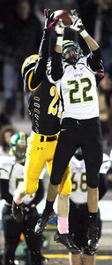 H. Rick Bamman - hbamman@shawmedia.com Crystal Lake South's Corbin Pennino (22) intercepts a Bret Mooney pass intended for Jacob's Jake Gierlak in the second quarter.