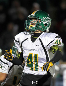 H. Rick Bamman - hbamman@shawmedia.com Crystal Lake South's Casey Oliver watches his field goal attempt sail through the uprights in the last second of the game against Jacobs. Oliver's try was good and South beat Jacobs 32-29.