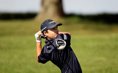 Sarah Nader - snader@shawmedia.com Cary-Grove's Daniel Deprey watches his ball after teeing off on the 18th hole during Tuesday's Crystal Lake South boys golf regional at Redtail Gold Club in Lakewood on October 2, 2012.