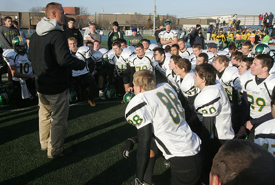 H. Rick Bamman - hbamman@shawmedia.com Crystal Lake South's Chuck Ahsmann gathers his team after the loss against Lake Zurich.