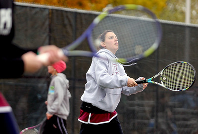 Sarah Nader - snader@shawmedia.com Prairie Ridge's Natalie Favia competes in a doubles game during Thursday's state tennis tournament in Rolling Meadows on October 18, 2012.