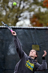 Sarah Nader - snader@shawmedia.com Jacobs' Jen Regard returns the ball while competing in a doubles game during Thursday's state tennis tournament in Rolling Meadows on October 18, 2012.