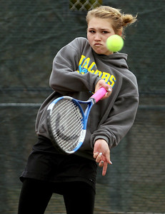 Sarah Nader - snader@shawmedia.com Jacobs' Miranda Curtis returns the ball while competing in a doubles game during Thursday's state tennis tournament in Rolling Meadows on October 18, 2012.