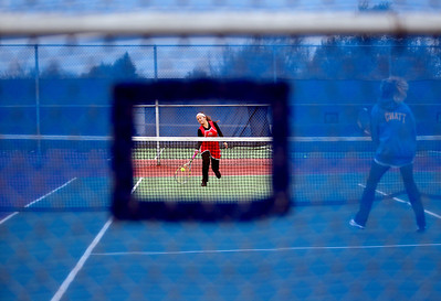 Sarah Nader - snader@shawmedia.com Huntley's Kayla Garcia returns the ball while competing in a singles game against Marion during Thursday's state tennis tournament in Hoffman Estates on October 18, 2012.