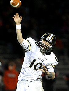 Mike Greene - mgreene@shawmedia.com Grayslake North quarterback A.J. Fish releases a pass during the fourth quarter of a game against Crystal Lake Central Friday, October 5, 2012 at Crystal Lake Central. Grayslake North (6-1) defeated Crystal Lake Central (5-2) 32-20 to clinch a playoff spot.
